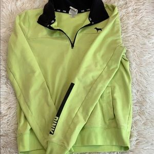 neon green & black victoria secret pink sweatshirt